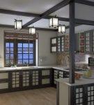 Люстра для кухни в японском стиле