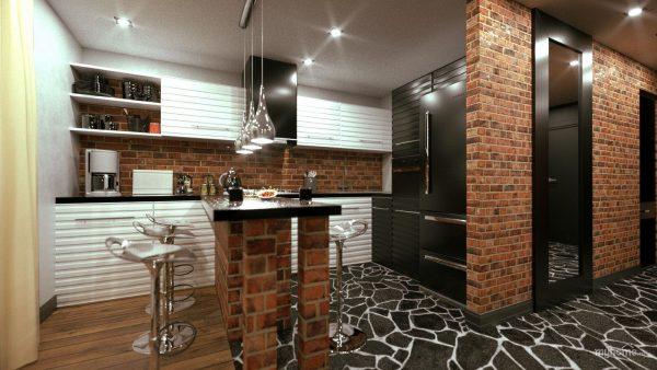 Металлические светильники на подвесах в кухне стиля лофт
