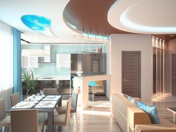 Кухня с многоуровневым потолком