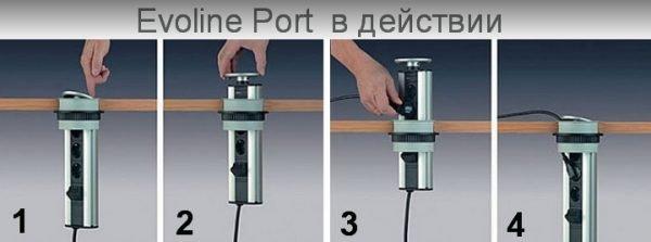 Розеточный выдвижной блок Evoline Port Multimedia Professional производства Schulte Elektrotechnik