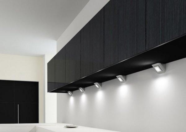 Накладные светильников на кухне
