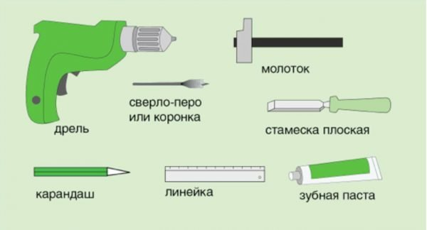 Инструменты для установки дверного замка