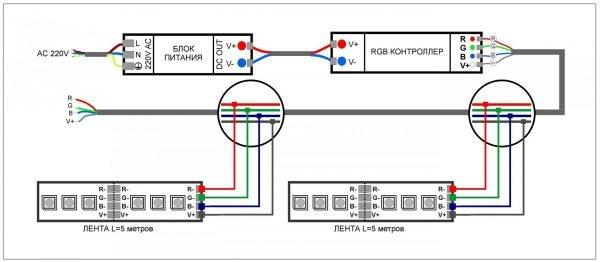 Схема подлючения светодиодной ленты RGB