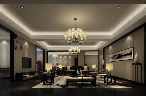 Люстры и точечные светильники в большой гостиной