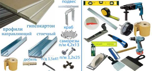 Инструменты и материалы для изготовления арки из гипсокартона