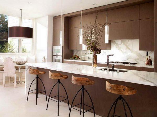 Освещение на кухне с барной стойкой