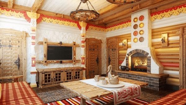 Комната в стиле русской усадьбы
