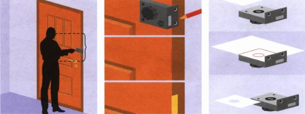 Высота установки накладного замка