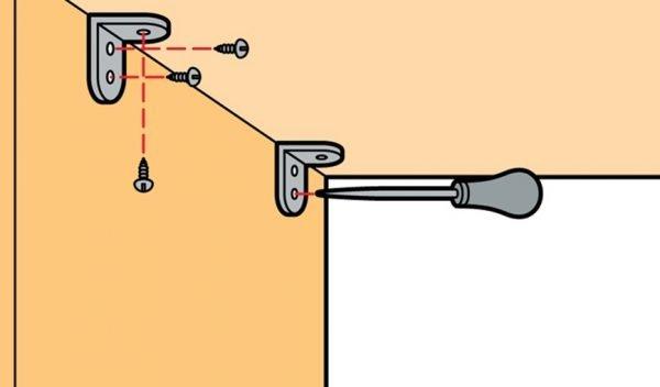 Схема крепления элементов стеллажа на уголки и саморезы