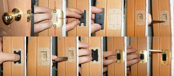 Установка ответной планки на дверь
