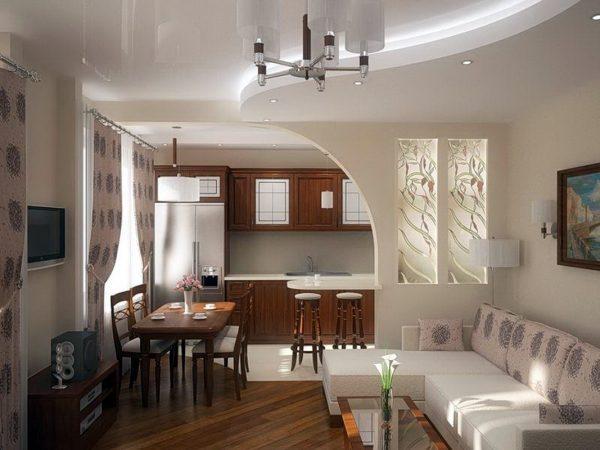 Вариант арки между кухней и столовой