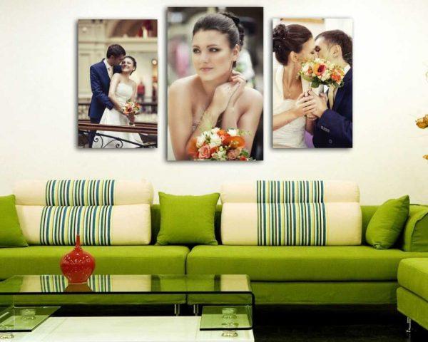 Свадебные фото над диваном