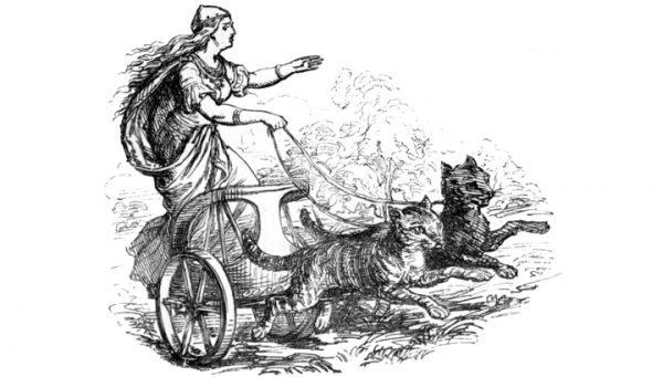 Фрейя на колеснице, запряжённой двумя кошками