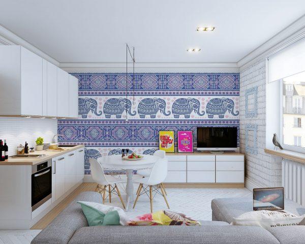 Кухня с фотообоями в скандинавском стиле