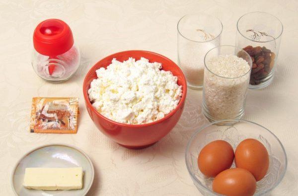 Продукты для творожно-рисовой запеканки