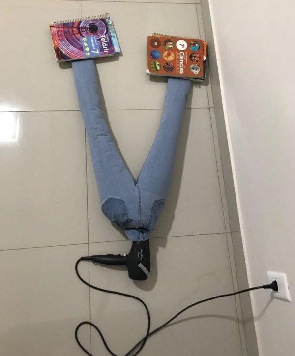 Сушка джинсов феном