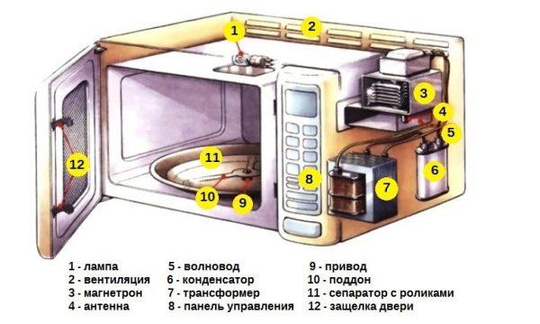 Внутреннее устройство микроволновой печи