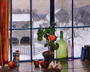 картина герань на окне