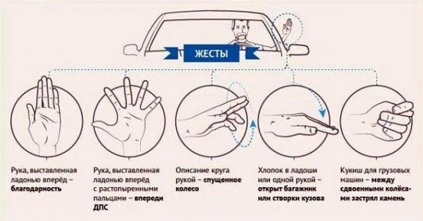 Жесты водителей