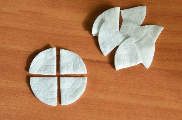 Нарезанные ватные диски