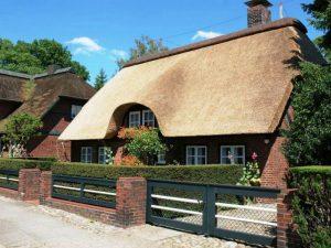 Дом в английском стиле с камышовой крышей — необычно, броско, красиво и рационально.