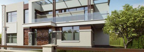 Стильный дом с прозрачной крышей из поликарбоната.