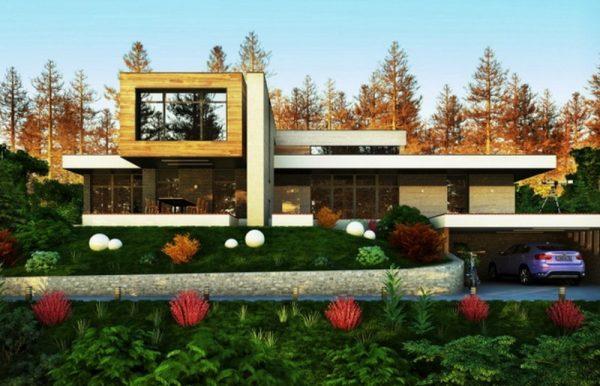 Пример дома с плоской крышей