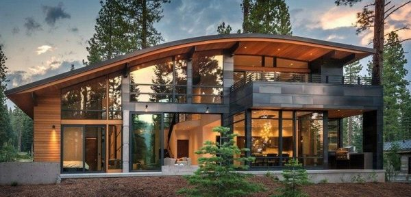 Изогнутая односкатная крыша для коттеджа