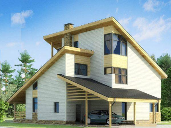 Уютный частный дом с односкатной крышей