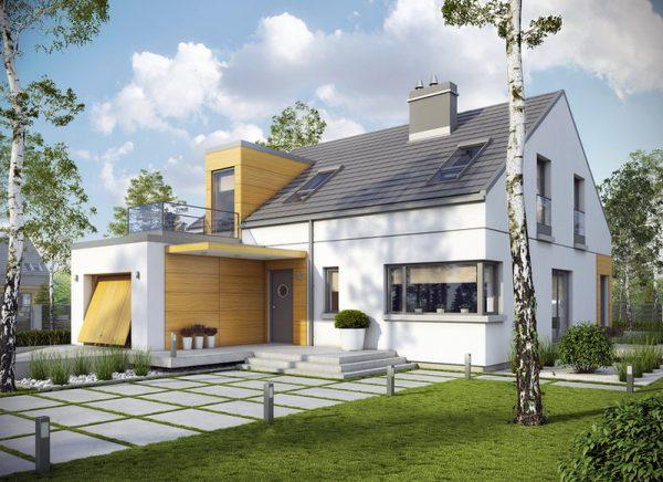Пример дома с двускатной крышей