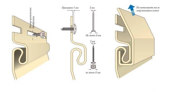 Схема крепления сайдинга на саморезы