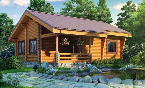 Обычная двускатная крыша для деревянного дома