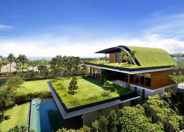 Коттедж с зелёной крышей