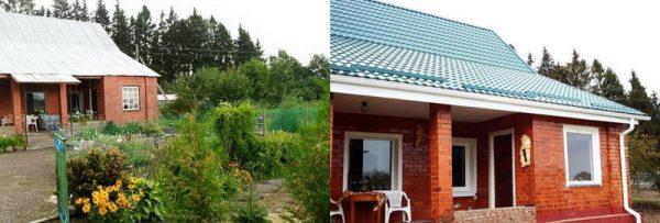 Вид дома до ремонта и после