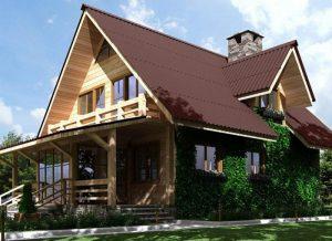 Дом с кровельным покрытием ондулин. Такая кровля отлично подходит как для небольшого частного дома, так и для презентабельного загородного коттеджа.