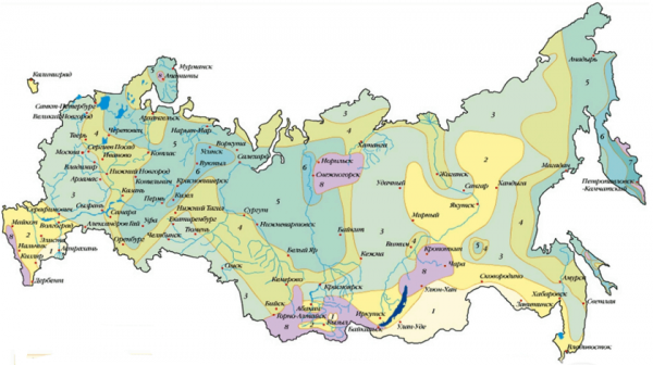 Карта снеговых районов России