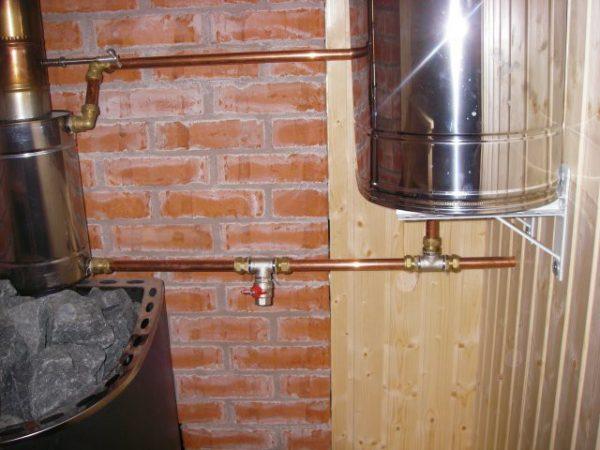 Размещение водонагревателя на дымоходе
