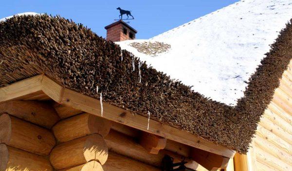 Соломенная крыша под снегом