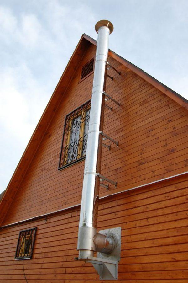 Крепление вертикального участка дымохода к стене