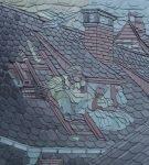 Сланцевая крыша с орнаментом