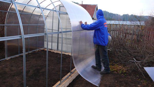 Устанавливают поликарбонат на крышу теплицы