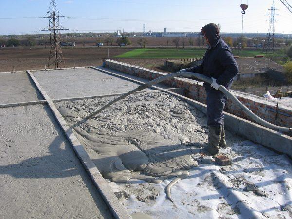 Заливка перекрытия для эксплуатируемой крыши