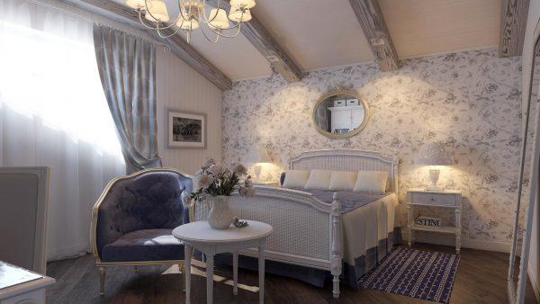 Спальня на мансардном этаже в стиле прованс