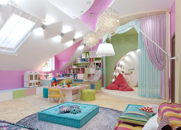 Освещение мансардной комнаты