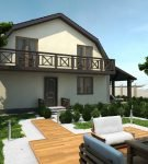 Оштукатуренный дом с балконом и мансардой