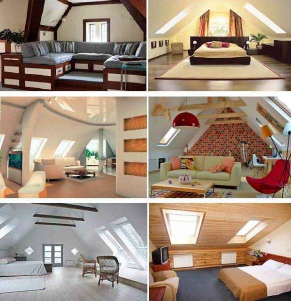 Оформленные мансардные помещения