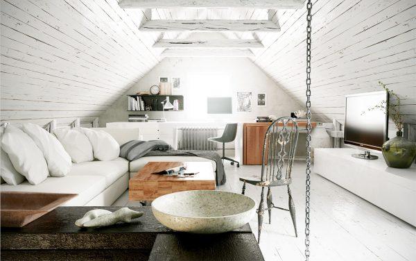 Мансардное помещение, объединяющее под своей крышей кабинет и гостиную