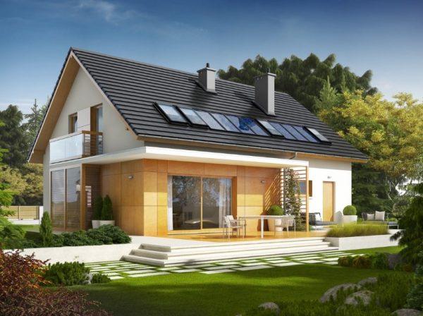 Стандартная двускатная крыша жилого дома