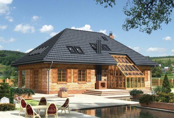 Простая вальмовая мансардная крыша