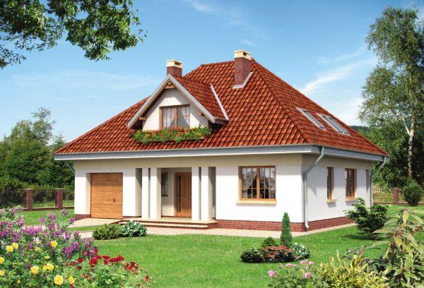 Вальмовая мансардная крыша с окном